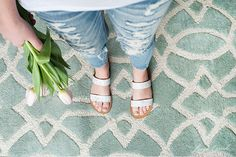 gorgeous rug pink tulips ripped denim