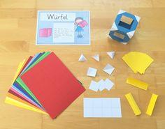 Kantenmodelle zu Würfeln, Quadern, Prismen und Pyramiden basteln im Mathematikunterricht der Grundschule (Geometrie)
