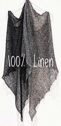 Hand knitted natural Linen poncho Organic clothes 100% Linen Eco fashion