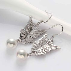 fashion Jewelry butterfly beads drop earrings 18k GP Zircon earing brincosSKGE021
