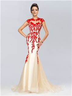 Graceful Mermaid Jewel Neckline Appliques Long Evening Dress