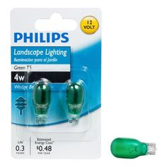 Philips 416057 Landscape Lighting 4-Watt T5 12-Volt Green Wedge Base Light Bulb, 2-Pack by Philips. $5.11. From the Manufacturer                Philips 4-Watt T5 Green Landscape and Accent Lighting capsule is ideal for illuminating walkways and accenting landscaping. They provide a festive green colored light that adds a fun and decorative touch to your outdoor decor.  These light bulbs should only be used in 12V enclosed fixtures. Light for all of your specialized fixt...
