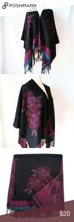 "ATTENTION Black Shawl Soft Black Acrylic? Shawl with Purple Flower Detail & Fringe by attention.  Shawl / Shrug / Cover Up :: Perfect for Formal Prom! In excellent used condition. From a smoke free home. Make an offer! SAVE on SHIPPING & get a DISCOUNT by making a BUNDLE! Get 20% off on 2+ items. 2for1 SCARF SALE: Buy one ""2for1"" scarf at full price and get another scarf of equal or lesser value for free! Purchase the first scarf, comment on the second scarf, & I'll ship both! Accessories…"