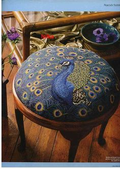 Vintage stool with peacock needlepoint Cross Stitch Pillow, Cross Stitch Bird, Cross Stitching, Cross Stitch Embroidery, Embroidery Patterns, Cross Stitch Patterns, Peacock Decor, Peacock Colors, Peacock Art