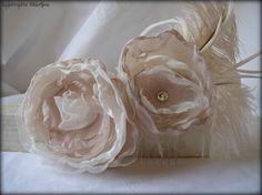 Champegne Boho Hair Flower Bridal Accessories by RainwaterStudios, $22.00