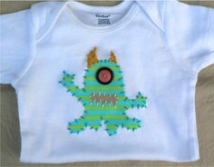 Monster Applique Onesie or Shirt Custom Size and by ohmelisa, $22.00  L<3ve these