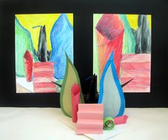 Colorful drawing from student made paper Still Life Sculpture--display together!