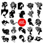 Beautiful women silhouette. Girls collection. Set of vector illustrations