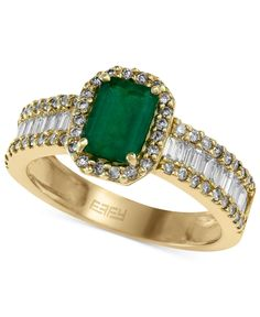 EFFY Emerald (9/10 ct. t.w.) and Diamond (5/8 ct. t.w.) Ring in 14k Gold - Rings - Jewelry & Watches - Macy's