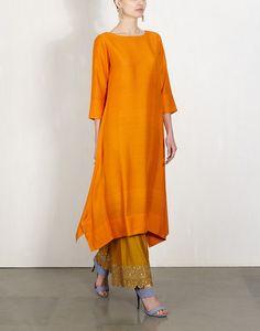 Orange Kurta With Embroidered Pants-Lajjoo C- Muslim Fashion, Ethnic Fashion, Indian Fashion, Kurta Designs, Pakistani Outfits, Indian Outfits, Hijab Stile, Desi Clothes, Indian Designer Wear
