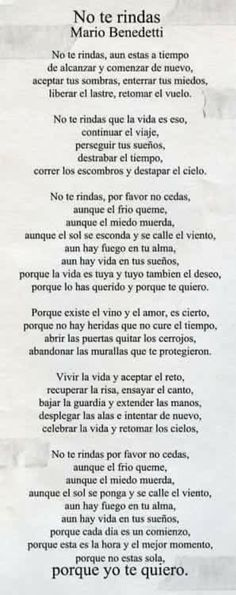 mario benedetti poemas no te rindas image search results The Words, More Than Words, Citation Gandhi, Quotes To Live By, Me Quotes, Laura Lee, Spanish Quotes, Latin Quotes, Beautiful Words