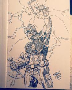 Cap art by Ransom Getty Arte Dc Comics, Marvel Comics Art, Marvel Heroes, Marvel Characters, Marvel Avengers, Captain America Art, Avengers Drawings, Super Anime, Comic Art