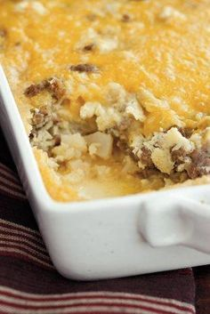 Hash Brown Breakfast Casserole made with sausage and potatoes!