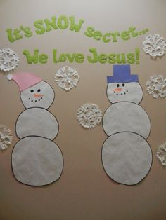 January bulletin board ideas · it's snow secret ______ loves jesus use this with the snowman circle letter name puzzles. Christian Bulletin Boards, Church Bulletin Boards, Preschool Bulletin Boards, Bullentin Boards, Sunday School Rooms, Sunday School Classroom, Sunday School Crafts, School Kids, Pre School