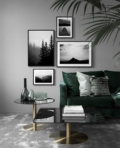 Living room with muted colors, gray wall, dark green sofa, modern living room . - wall design ideas - Living room with muted colors gray wall dark green sofa Modern living room design roo - Living Room Green, New Living Room, Living Room Modern, Living Room Sofa, Living Room Designs, Living Room Decor, Modern Couch, Modern Wall, Gray Living Room Walls