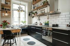 y'all may movie a kitchen amongst white walls Stunning Ideas for Scandinavian Kitchen Style inwards 2019 Stylish Kitchen, New Kitchen, Kitchen Decor, Design Kitchen, Kitchen Interior, Space Kitchen, Nordic Interior, Kitchen Wood, French Kitchen