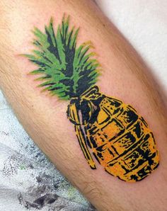Pineapple Grenade Mean's Tattoo In Color