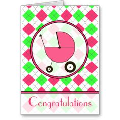 Pink and Green Argyle Baby Congratulations Card