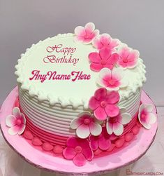 Pink Flowers Birthday Wishes Cake With Name Edit Birthday Wishes With Name, Birthday Wishes Cake, Birthday Cake With Flowers, Birthday Cake Pictures, Beautiful Birthday Cakes, Happy Birthday, Cake Name, Pink Flowers, Cake Templates