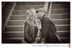 Engagement photos: make use of staircases, they are great backgrounds by adding dimension for sitting and standing positions!  www.arrival2departure.com
