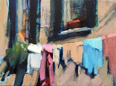 Wash Day by Trisha Adams, Oil, 9 x 12 x standard City Painting, Painting & Drawing, Abstract Landscape, Landscape Paintings, Landscapes, Restaurant Mexicano, Laundry Art, Laundry Drying, Selling Paintings