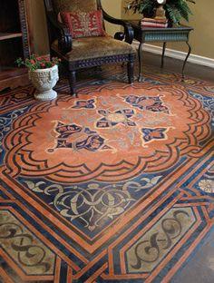 Stenciled Concrete Floor with a Modello Designs carpet stencil.
