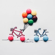 Malaysian artist Nady Nadhira: http://designtaxi.com/news/381098/Artist-Uses-Childhood-Snacks-Sweets-To-Complete-Her-Fun-Cartoon-Illustrations/