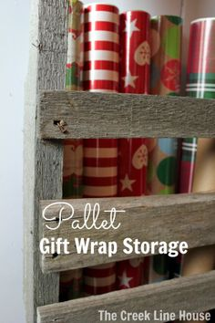 Super easy gift wrap storage using an old pallet. No tools required!