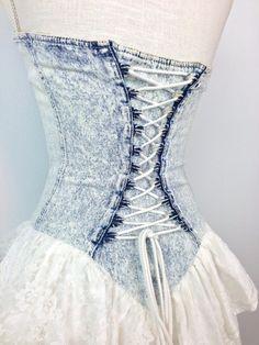 80s Acid Wash Sweetheart Corset Dress / Full Skirt / Lace Up Bodice / Small /  Medium. $38.00, via Etsy.