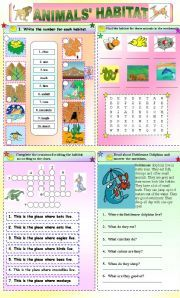 English teaching worksheets: Animal habitats | Wild animals ...