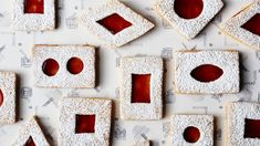 Spiced Brown Butter Linzer Cookies - Make any kind of shape you'd like. The cookies can be rounds instead of rectangles, and you can use any smaller cutter for the cutouts. Holiday Cookie Recipes, Holiday Cookies, Holiday Baking, Christmas Baking, Holiday Foods, Macarons, Brownies, Currant Jelly, Linzer Cookies