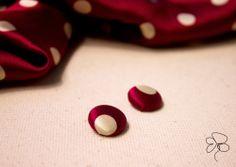 Orecchini in seta color bordeaux con pois; earrings, pois bordeaux