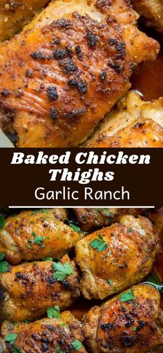 Garlic Ranch Baked Chicken Thighs are crispy on the outside and very tender on the inside. Just toss the chicken thighs with seasoning, then bake! This recipe is our go to recipe for busy weeknight dinners. Dark Meat Chicken Recipe, Chicken Legs And Thighs Recipe, Chicken Quarter Recipes, Healthy Chicken Thigh Recipes, Chicken Thighs Dinner, Healthy Chicken Dinner, Healthy Pasta Recipes, Baked Chicken Recipes, Meat Recipes