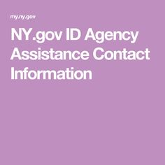 NY.gov ID Agency Assistance Contact Information