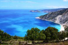 Myrtos beach and Assos in the distance Myrtos Beach, Thing 1, Puerto Vallarta, Greek Islands, More Photos, Distance, Greece, Places To Visit, Holidays