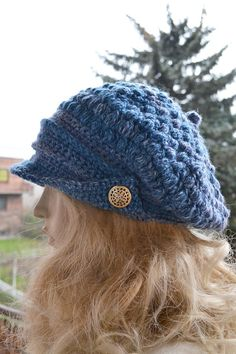 694ecccac32 Gray blue Crocheted PEAKED CAP beanie Slouchy Winter Fashion