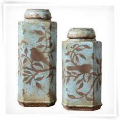 Uttermost Set of 2 Freya Tall Covered Ceramic Jars Ceramic Jars, Ceramic Pottery, Tuscan Decorating, Decorating Vases, Tall Vases, Canister Sets, Bottles And Jars, Mason Jars, Decoration