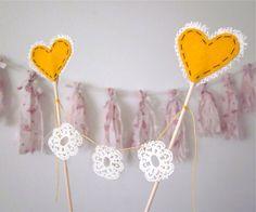 doily bunting cake topper (by katika made) #handmade #wedding via emmalinebride
