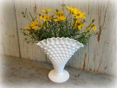 vintage fenton hobnail vase  ruffled fan milk by AntiqueShopGirl, $14.00