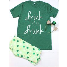 Drink Drank Drunk Unisex T-Shirt, St. Patricks Day Shirt, St Pattys Day, St Patricks Day Funny Shirt, Drinking Shirt by ShopatBash on Etsy St Pattys, St Patricks Day, Hand Stamped Necklace, Drinking Shirts, Party Shirts, Diy Shirt, Funny Shirts, Shirt Designs, Saints