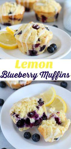 Lemon Blueberry Muffins - Fluffy and tender lemon muffins filled with blueberries and topped with a tangy lemon icing. #muffins #breakfast #lemon #blueberry