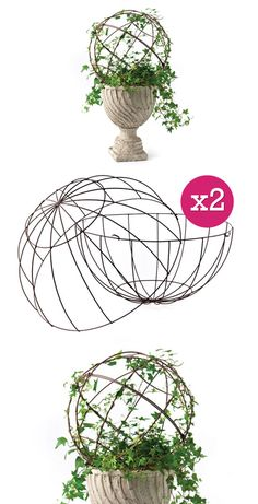 "INSPIRATION | TOPIARY FORM :: {DIY Charm} Wire Metal Topiary Dome, Set Of 2 (Two Pieces a Set) :: $25.50 | decorsteals.com :: [16""dia] Crafted of wire, the 2 pieces clip together to form a dome. :: This is a clever product, if only it wasn't so huge! I think you could make one... 