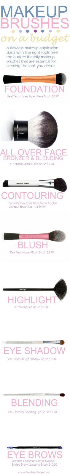 Essential Makeup Brushes {on a budget} | blush & lace                                                                                                                                                                                 More