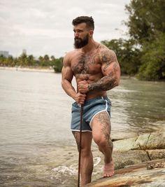 Touch my Beard is part of Muscle men - I lost my teddy bear will you sleep with me Hairy Men, Bearded Men, Bearded Tattooed Men, Scruffy Men, Men Handsome, Bald Men, Inked Men, Beard Tattoo, Tattoo Man