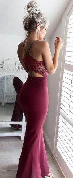 Sexy Prom Dress,Burgundy Prom Dress,Custom Made Prom Dresses, See Through Back Evening Dress, Mermaid Prom Dress,Spaghetti Straps Prom Dresses,Prom Dress