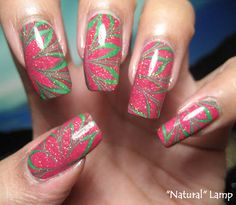 Poinsettia Water Marble Nails