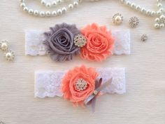 wedding garter set gray/peach bridal garter set ivory by venusshop, $19.90