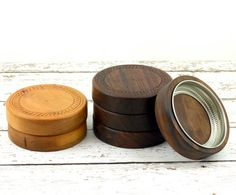 Set of Two Wooden Mason Jar Lids by Wood Expressions
