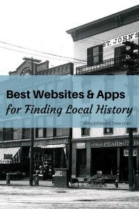 """""""Best Websites and Apps for Finding Local History"""" -- here is a link of all of the resources and accounts that I mentioned in my RootsTech presentation, along with the video!"""