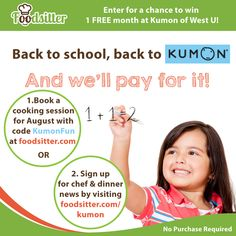 We are ready for another sweepstakes, hooray! Many of our families have little kids who visit Kumon for some afterschool reading or math practice. So whether your little one is already registered at Kumon or you've been meaning to finally try it out, here is your chance to win 1 FREE month at Kumon of West U through Foodsitter (no purchase required).  To enter & read official rules visit: www.foodsitter.com/kumon Good luck!!!